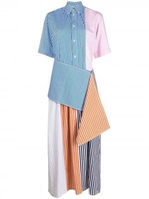 Полосатое платье-рубашка в технике пэчворк Plan C. Цвет: синий