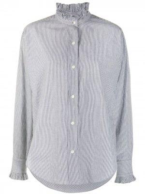 Полосатая рубашка с оборками Isabel Marant Étoile. Цвет: серый