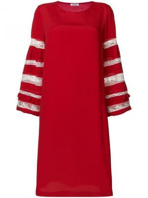Платье с кружевными рукавами P.A.R.O.S.H.. Цвет: красный