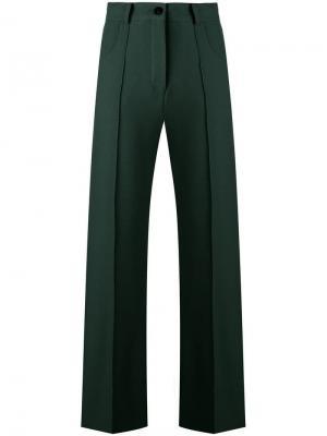 Укороченные расклешенные брюки Roberto Collina. Цвет: зеленый