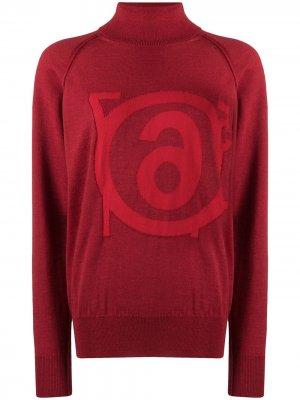 Джемпер с высоким воротником и логотипом MM6 Maison Margiela. Цвет: красный