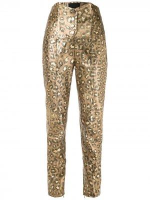 Зауженные брюки Jaguar с эффектом металлик Andrea Bogosian. Цвет: золотистый