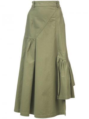 Юбка в утилитарном стиле с поясом 3.1 Phillip Lim. Цвет: зеленый