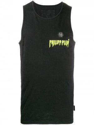 Топ без рукавов с нашивкой-логотипом Philipp Plein. Цвет: черный