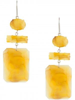 Серьги-подвески с камнями Isabel Marant. Цвет: желтый