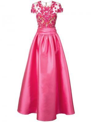 Вечернее платье с вышитыми цветами Marchesa Notte. Цвет: розовый
