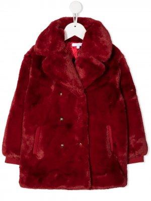Двубортное пальто Chloé Kids. Цвет: красный