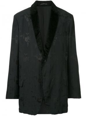 Пиджак с цветочным принтом и контрастным воротником Yohji Yamamoto Vintage. Цвет: черный