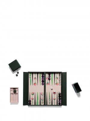 Дорожный набор Tulip для игры в нарды Alexandra Llewellyn. Цвет: зеленый