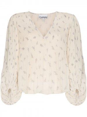 Блузка с цветочным принтом GANNI. Цвет: желтый