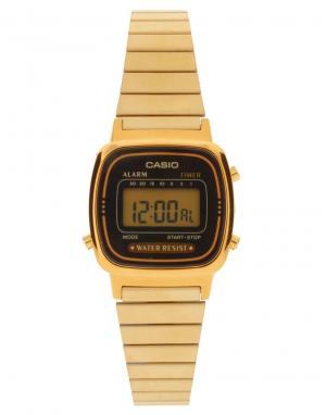 Электронные часы с черным циферблатом и золотистым ремешком  Mini LA670WEGA-1EF - Черный Casio. Цвет: черный