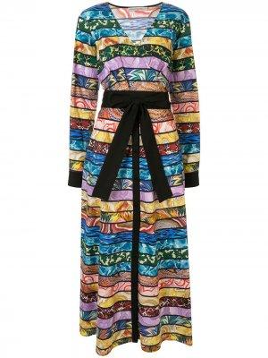 Платье длины миди в полоску с запахом Mary Katrantzou. Цвет: разноцветный