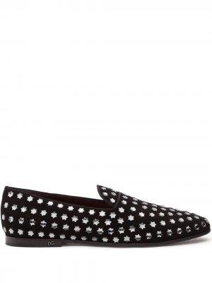 Слиперы с заклепками Dolce & Gabbana. Цвет: черный