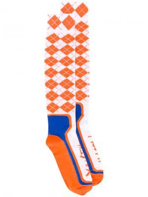 Носки с узором аргайл Maison Margiela. Цвет: жёлтый и оранжевый