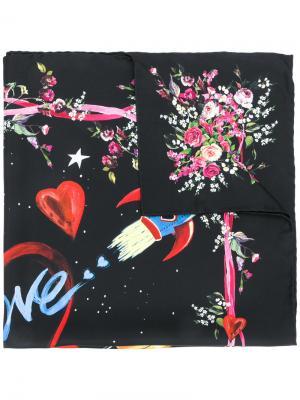 Шарф с принтом космоса и робота Dolce & Gabbana. Цвет: чёрный
