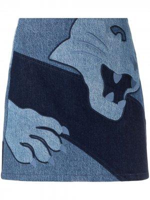 Джинсовая юбка с вышивкой Krizia. Цвет: синий