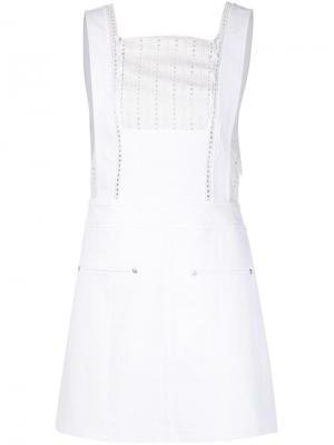 Джинсовое платье с ажурной панелью Thakoon. Цвет: белый