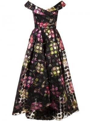 Платье с открытыми плечами и цветочным принтом Marchesa Notte. Цвет: черный