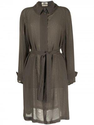 Полупрозрачное пальто pre-owned с поясом Hermès. Цвет: зеленый