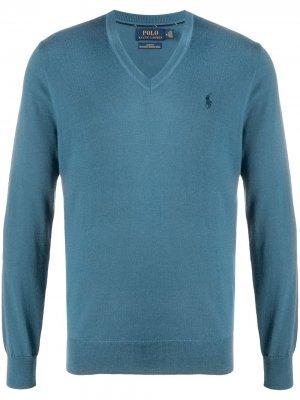 Пуловер с вышитым логотипом Polo Ralph Lauren. Цвет: синий