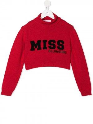 Укороченный джемпер с логотипом Miss Blumarine. Цвет: красный
