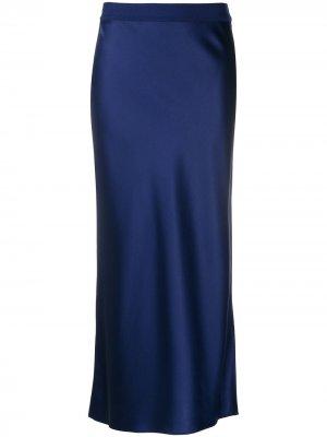 Атласная юбка прямого кроя Theory. Цвет: синий