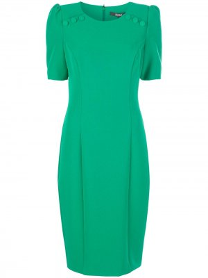 Платье миди на пуговицах Badgley Mischka. Цвет: зеленый