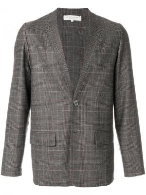 Пиджак в клетку Lucio Vanotti. Цвет: коричневый