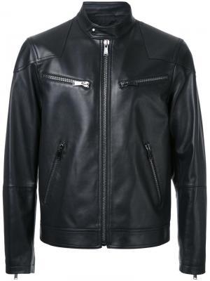 Кожаная байкерская куртка Kent & Curwen. Цвет: черный