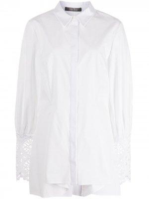Рубашка с кружевными манжетами Lela Rose. Цвет: белый