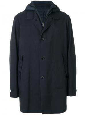 Однобортная куртка со стеганой вставкой Liska. Цвет: синий