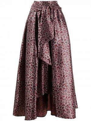 Присборенная юбка с леопардовым принтом Ultràchic. Цвет: розовый
