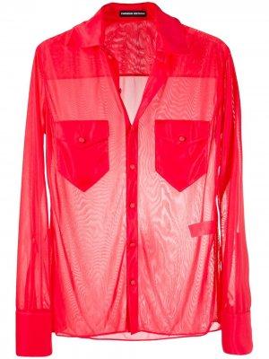 Полупрозрачная рубашка с длинными рукавами Kwaidan Editions. Цвет: красный