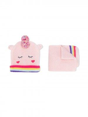 Комплект из шарфа и шапки бини Billieblush. Цвет: розовый
