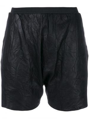 Кожаные шорты с мятым эффектом Olsthoorn Vanderwilt. Цвет: черный