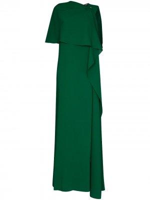 Длинное вечернее платье Oscar de la Renta. Цвет: зеленый