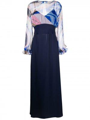 Вечернее платье с принтом Emilio Pucci. Цвет: синий