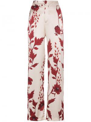 Пижамные брюки Pissaro с цветочным принтом Johanna Ortiz. Цвет: белый