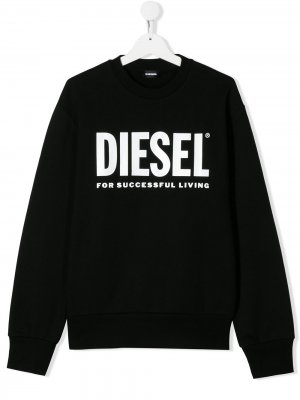 Толстовка с логотипом Diesel Kids. Цвет: черный