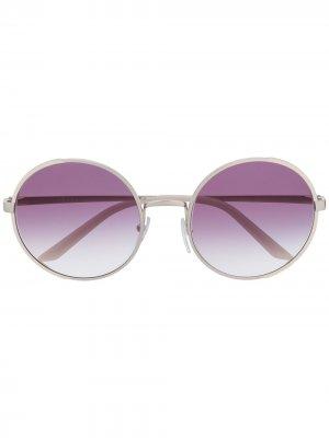 Солнцезащитные очки в круглой оправе Prada Eyewear. Цвет: белый