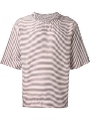 Полосатая футболка свободного кроя Lucio Vanotti. Цвет: белый