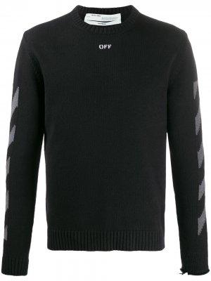 Джемпер с круглым вырезом и логотипом Off-White. Цвет: черный