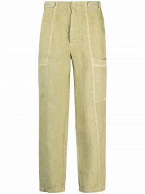 Укороченные брюки карго 120% Lino. Цвет: зеленый