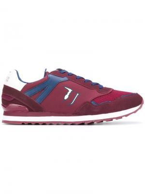 Кроссовки на шнуровке Trussardi Jeans. Цвет: красный