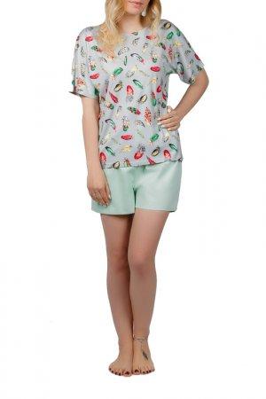 Комплект пижамный MANNON. Цвет: серо-мятный