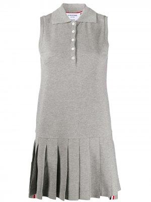 Теннисное платье из ткани пике без рукавов Thom Browne. Цвет: 055 light grey