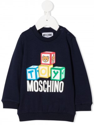 Свитер с логотипом Moschino Kids. Цвет: синий