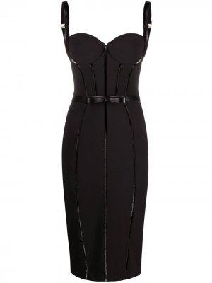 Приталенное платье-корсет Elisabetta Franchi. Цвет: черный