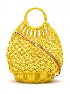 Соломенная сумка в технике кроше SERPUI. Цвет: желтый