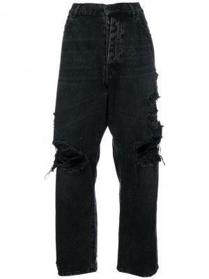 Широкие джинсы с рваными деталями Unravel Project. Цвет: черный